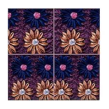 Cute Purple rosette Tile Coaster