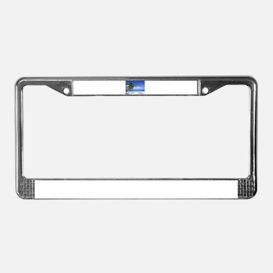 Tropical Beach License Plate Frame