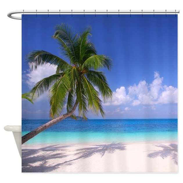 tropical beach shower curtain by wickeddesigns4