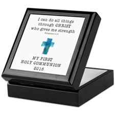 First Communion Blue I Can Do All Thi Keepsake Box