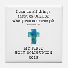 First Communion Blue I Can Do All Thi Tile Coaster