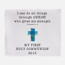 First Communion Blue I Can Do All Th Throw Blanket