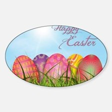 Happy Easter Decorated Eggs Sticker (Oval)