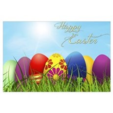Happy Easter Coloured Eggs Poster