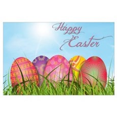 Happy Easter Decorated Eggs Poster