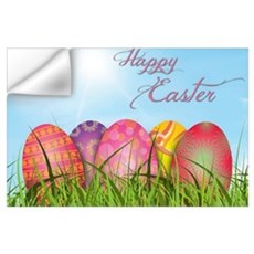 Happy Easter Decorated Eggs Wall Decal