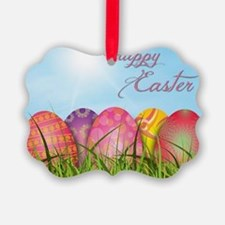 Happy Easter Decorated Eggs Ornament