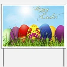Happy Easter Coloured Eggs Yard Sign