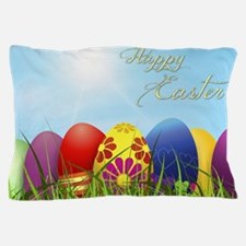Happy Easter Coloured Eggs Pillow Case