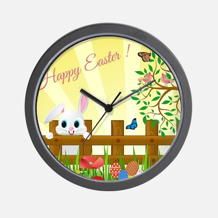 Happy Easter Bunny Wall Clock