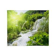 Beautiful Green Nature And Waterfall Throw Blanket