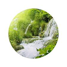 Beautiful Green Nature And Waterfall Button