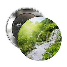 "Beautiful Green Nature And Waterfall 2.25"" Button"