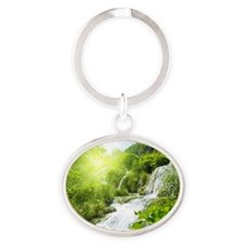Beautiful Green Nature And Waterfall Keychains