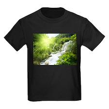 Beautiful Green Nature And Waterfall T-Shirt