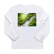 Beautiful Green Nature And Waterfall Long Sleeve T