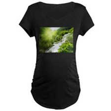 Beautiful Green Nature And Waterfall Maternity T-S