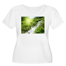 Beautiful Green Nature And Waterfall Plus Size T-S