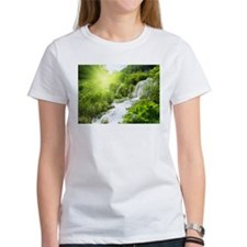 Beautiful Green Nature And Waterfall T-Shirt