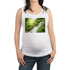 Beautiful Green Nature And Waterfall Maternity Tan