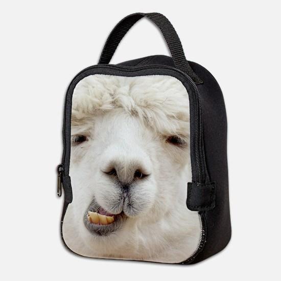 Funny Alpaca Smile Neoprene Lunch Bag