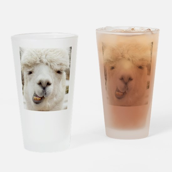 Funny Alpaca Smile Drinking Glass