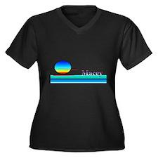 Macey Women's Plus Size V-Neck Dark T-Shirt