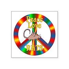 """Peace Love Rats Square Sticker 3"""" x 3"""""""