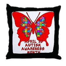 Autism Awareness Butterfly Throw Pillow
