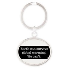 Cute Earth Oval Keychain