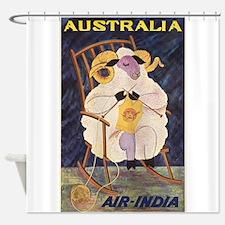 Vintage Australia Travel Poster Shower Curtain