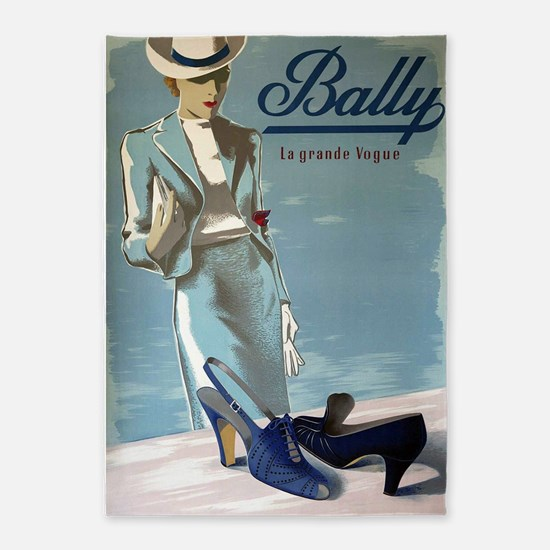 Vintage Bally Shoes Poster 5'x7'area Rug