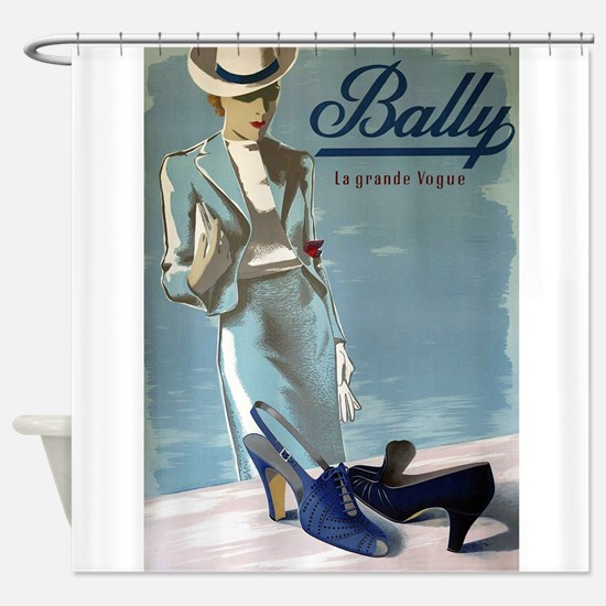 Vintage Bally Shoes Poster Shower Curtain