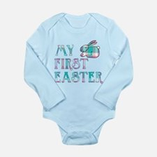 My First Easter Gingha Long Sleeve Infant Bodysuit