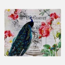 Peacock and roses Throw Blanket