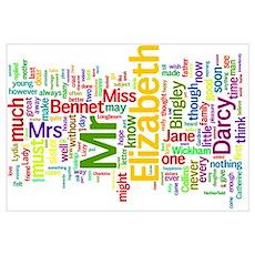 Word Art from Jane Austen's Pride and Prejudice Poster