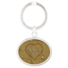 Ayla Beach Love Oval Keychain