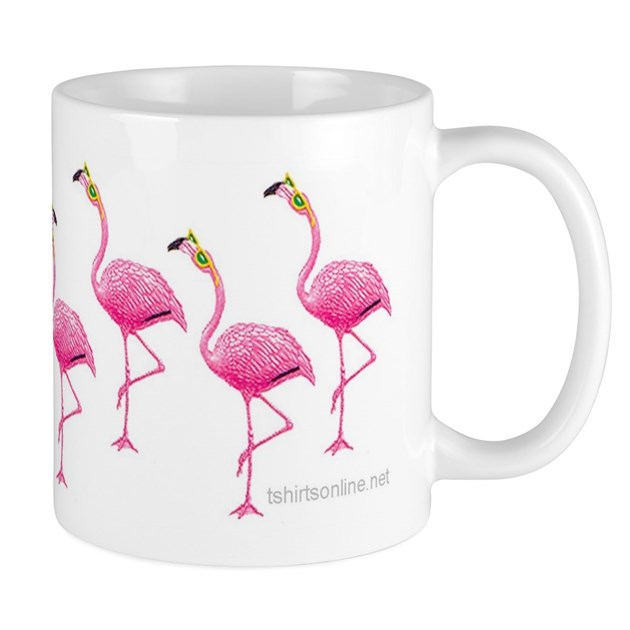 Cool Flamingo Line Mug By Angelstormstudios