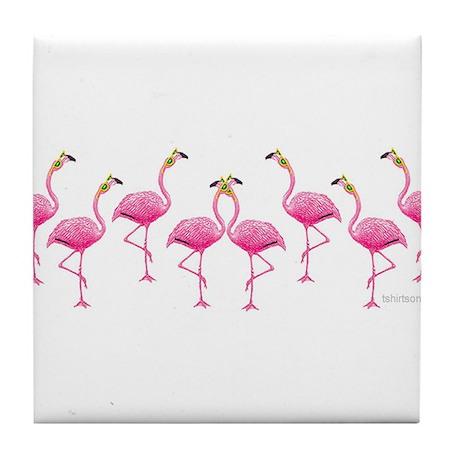 Cool Flamingo Line Tile Coaster