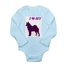 Cute Norwegian elkhound Long Sleeve Infant Bodysuit