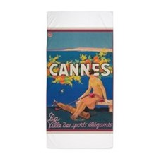 Vintage Cannes France Travel Poster Beach Towel