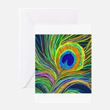 PAINTED PEACOCK FEATHER DB Greeting Cards
