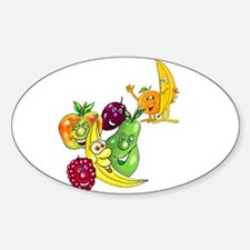 Healthy Happy Fruit Oval Decal