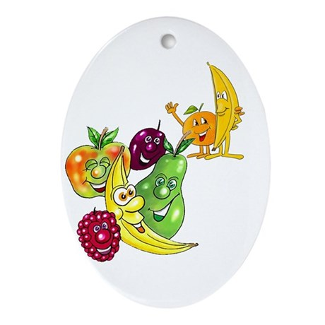 Healthy Happy Fruit Oval Ornament