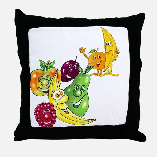 Healthy Happy Fruit Throw Pillow