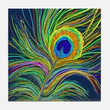 PAINTED PEACOCK FEATHER S Tile Coaster
