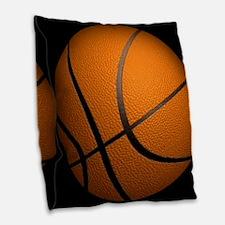 Basketball Big Wide Burlap Throw Pillow