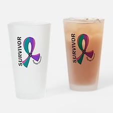 Thyroid Cancer Survivor 12 Drinking Glass