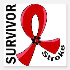 """Stroke Awareness V12 Square Car Magnet 3"""" x 3"""""""