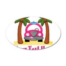 Personalizable Beach Pink Car Wall Decal